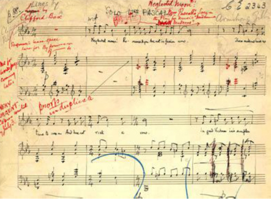 Music manuscript for the play Midsummer Madness, libretto by Clifford Bax, 1924